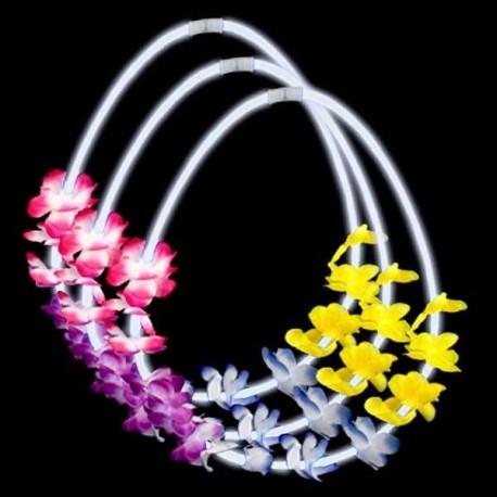 collares hawaianos luminosos coronas flores