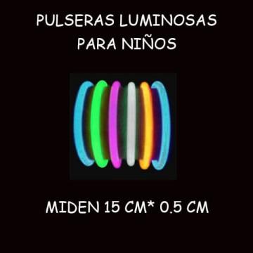 PULSERAS LUMINOSAS PARA NIÑOS (bote de 100 uds.)